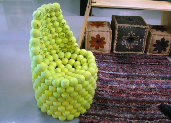 Design aus Tennisbällen wiederverwendet umweltfreundlich lehne