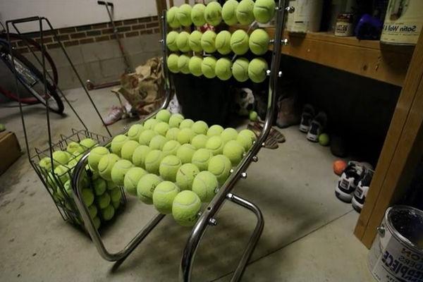 Stuhl Design aus Tennisbällen wiederverwendet umweltfreundlich