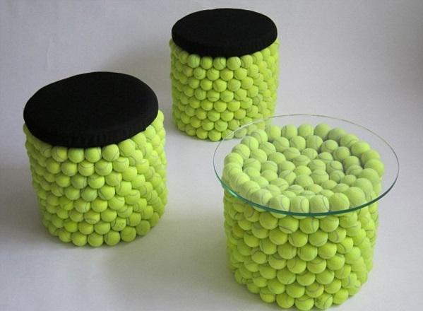 Stuhl Design aus Tennisbällen wiederverwendet wohnzimmer  möbel