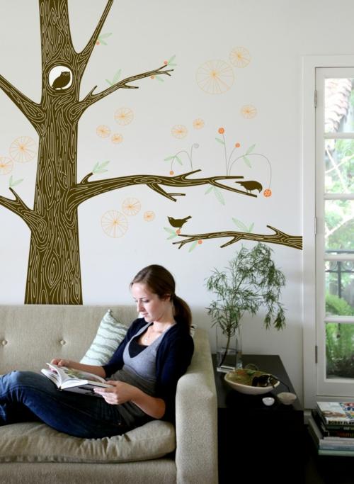 Wanddekoration mit Wandtattoo baum wohnzimmer sticker