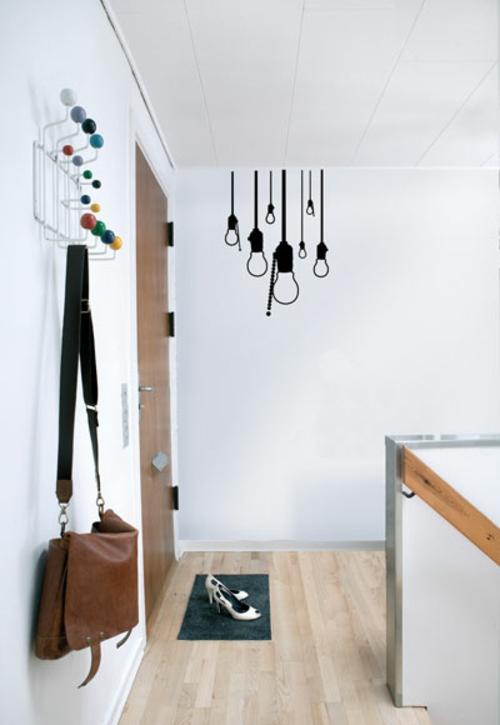 Wanddekoration mit Wandtattoo glühbirnen schwarz