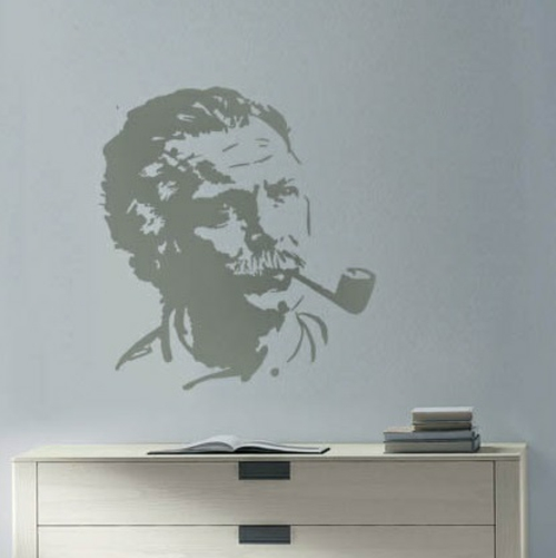 Wanddekoration mit Wandtattoo mensch pop art grau