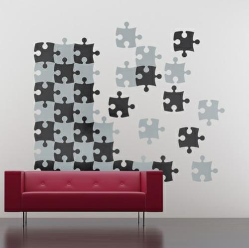 Wanddekoration mit Wandtattoo puzzle grau schwarz wohnzimmer rot