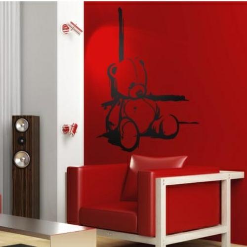 Wanddekoration mit Wandtattoo rot wand bär