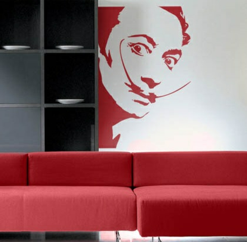Wanddekoration mit Wandtattoo salvador dali pop art