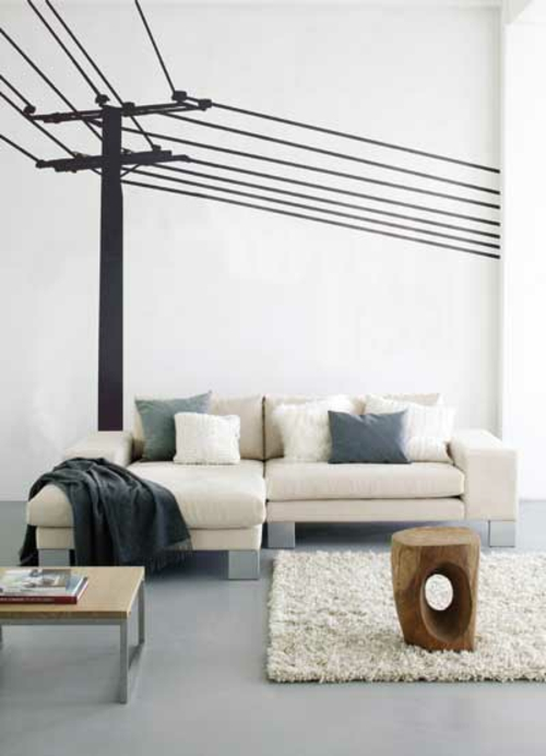 Wanddekoration mit Wandtattoo städtisch wohnzimmer