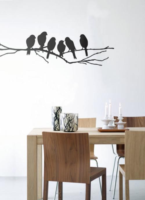 Wanddekoration mit Wandtattoo vogel esszimmer