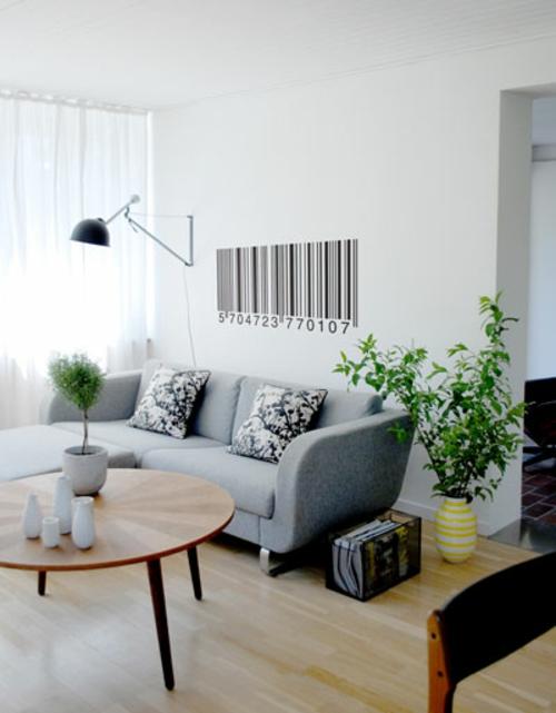Wanddeko mit Wandtattoo wohnzimmer sofa grau
