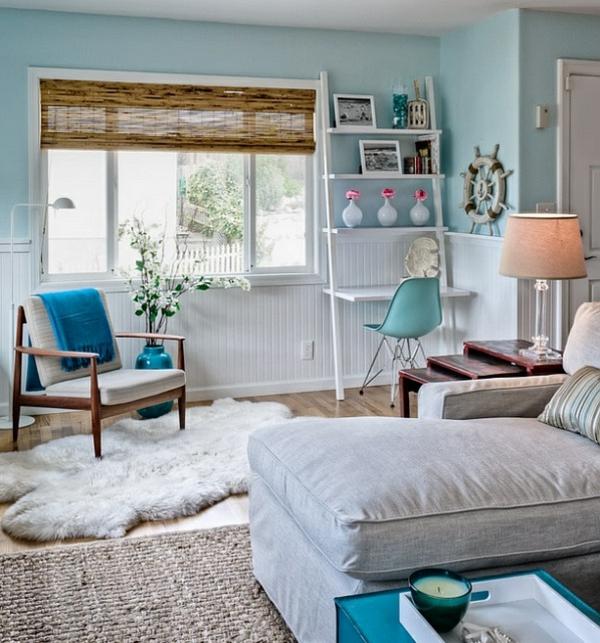 Wohnideen Leiterregal und Dekoartikel großartig modern zimmer küstennah