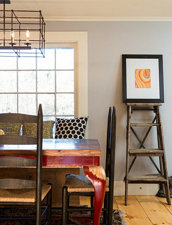 Leiterregal und Dekoartikel landhausstil esszimmer minimalistisch