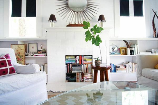 Wohnideen für einen  dekorierten Kamin bücher