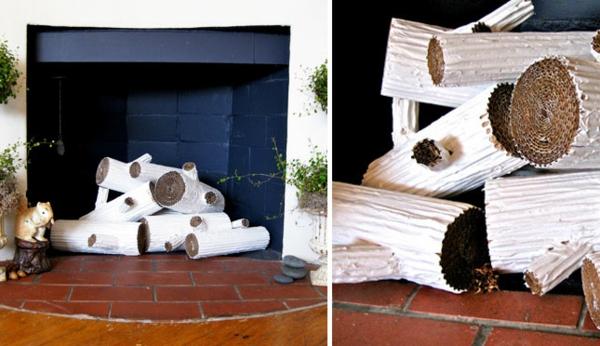 Wohnideen für einen cool dekorierten Kamin brennholz falsch