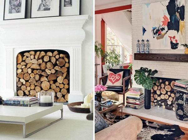Wohnideen für einen cool dekorierten Kamin brennholz