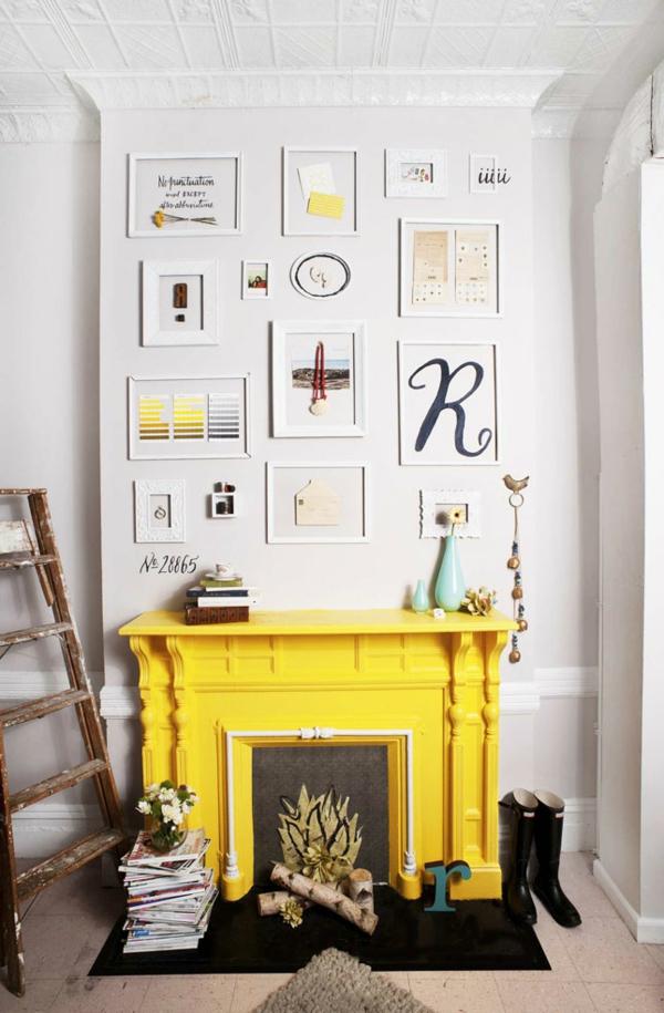 Wohnideen für einen cool dekorierten Kamin falsch feuer