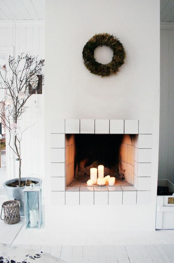 Wohnideen für einen cool dekorierten Kamin kerzen