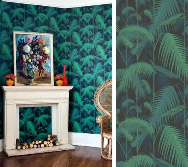 Wohnideen für einen dekorierten Kamin tapeten exotisch