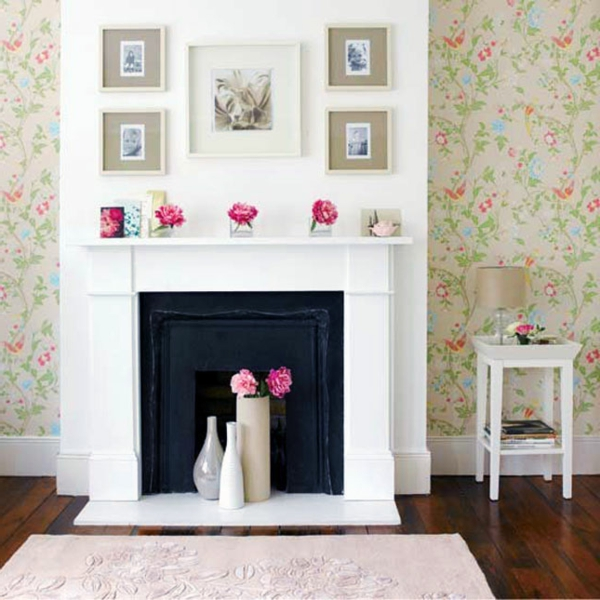 Wohnideen für einen cool dekorierten Kamin vasen