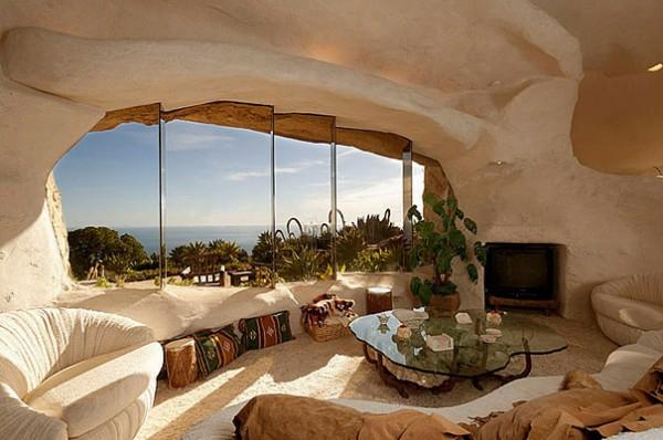 außergewöhnliche häuser steinernes wohnzimmer