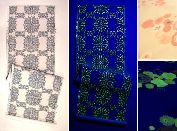 Ausgefallene Tapeten Muster : ausgefallene tapeten mit phosphoriszierenden mustern