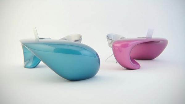büromöbel schreibtische in pink und blau