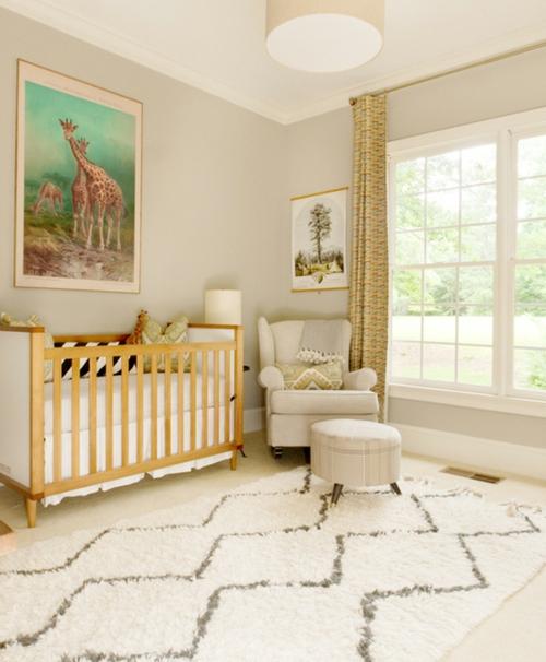 babyzimmer komplett gestalten chevron teppich fell weich