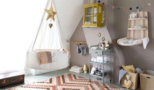 Babyzimmer Komplett Himmelbett Kinder Grau Wand Bunt
