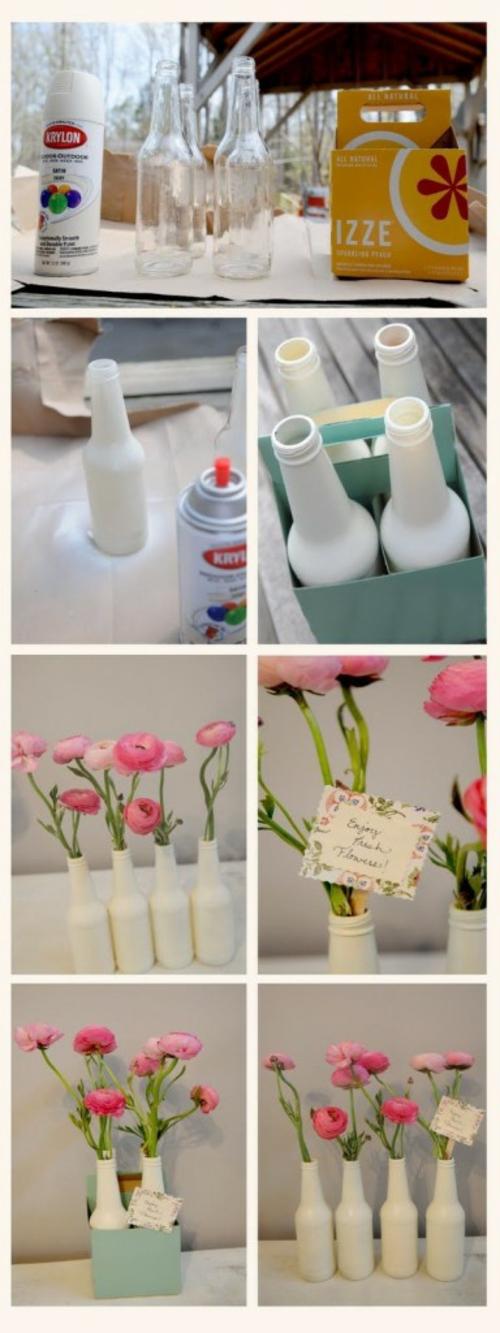 basteln mit glasflaschen weiße vasen