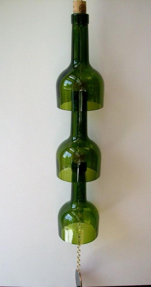 basteln glasflaschen windspiel