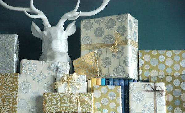 Dekoideen für Geschenkverpackung box silber golden