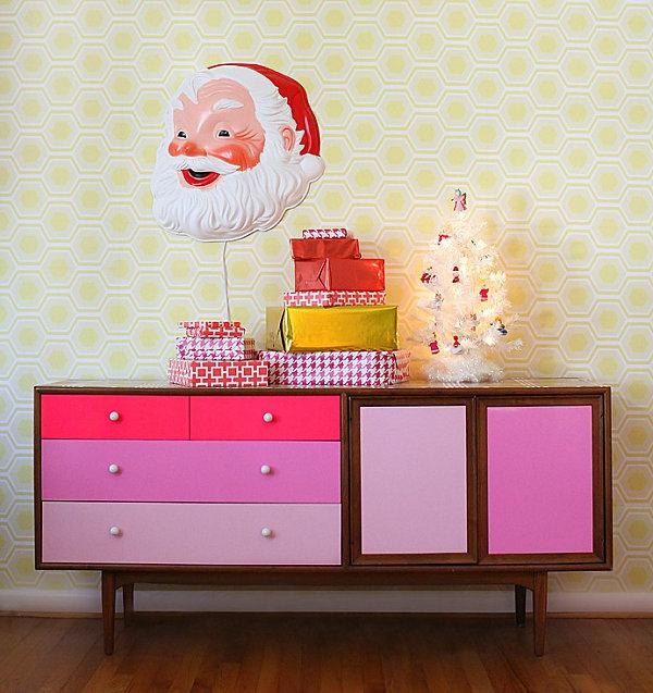 coole Dekoideen für Geschenkverpackung kommode modern rosa holz