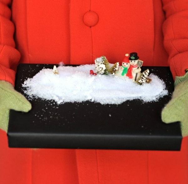 Dekoideen für Geschenkverpackung schneelandschaft