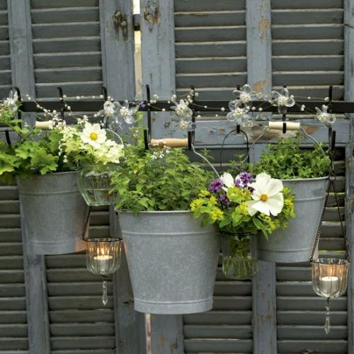 Vintage Blumentöpfe originell hängend metall eimer