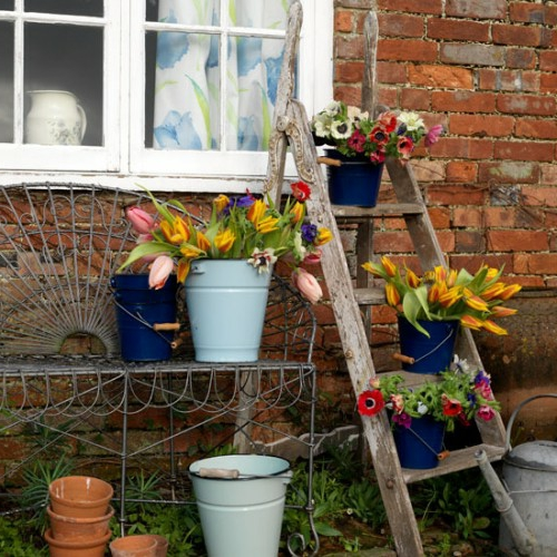 Vintage Blumentöpfe originell look leiter ziegelmauer metall eimer