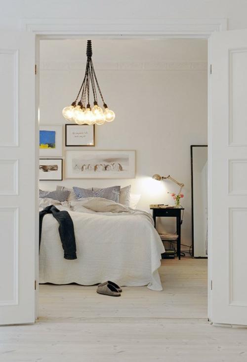 coole diy lampen aus glühbirnen hängeleuchten schlafzimmer