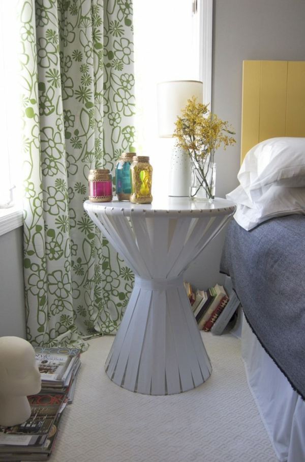 couchtisch selber bauen stoffbänder in weiß