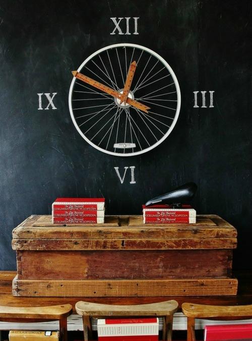 diy uhr fahrrad felge und meßstock