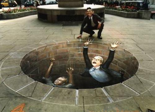 erstaunliche kunst straße zeichnungen 3d Effekt politiker