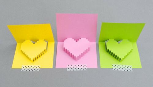 geschenke zum valentinstag basteln neonfarbige herze