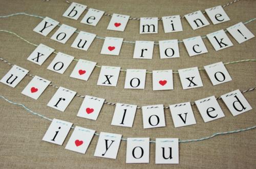 geschenke zum valentinstag papiergirlanden