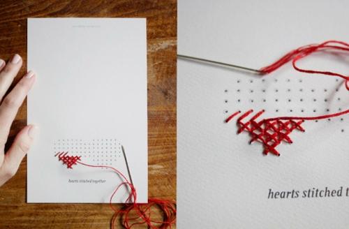 geschenke zum valentinstag basteln stickarbeit papier