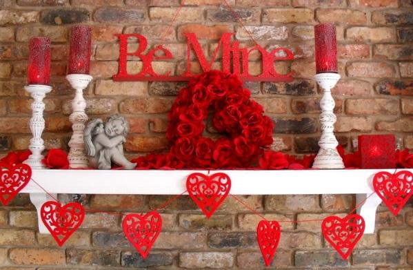 geschenkideen zum valentinstag kaminsims dekoration günstig attraktiv
