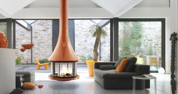 20 einrichtungsideen für hängenden kaminofen im modernen haus - Wohnzimmer Design Mit Kamin