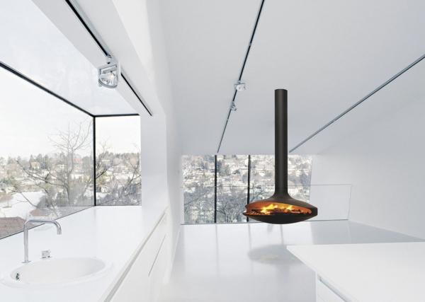 wohnzimmer kamin kaufen:hängenden kaminofen im modernen haus wohnzimmer komplett weiß