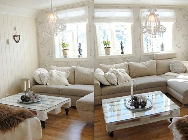 holzpaletten idee couchtisch glas platte rollen wohnzimmer