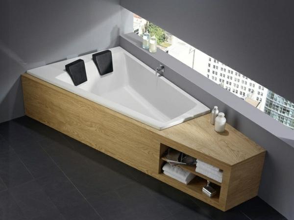 Badewannen dreieckig design holz oberfläche