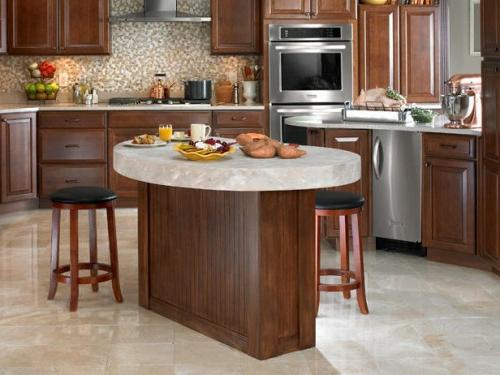 küchen aus nussbaumholz und marmor