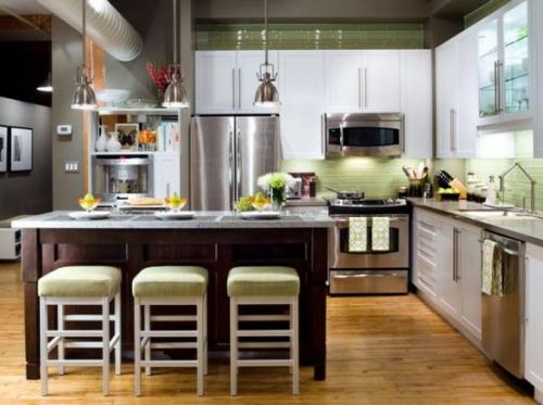 kücheninsel elegant aus dunklem holz