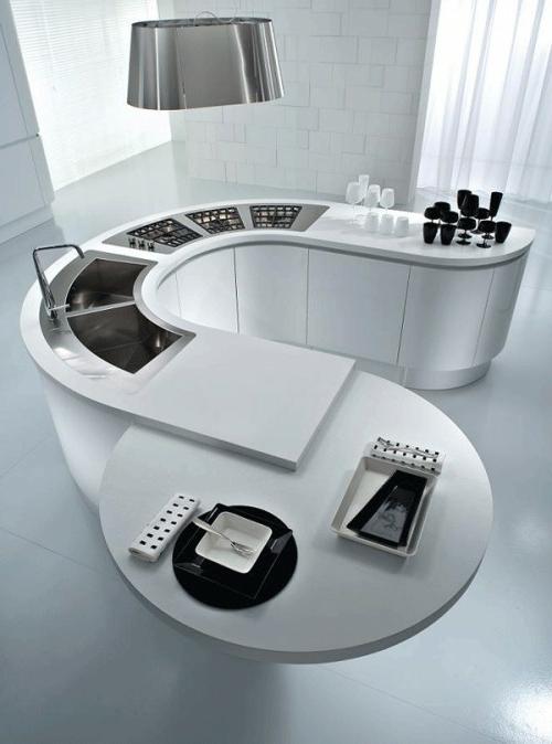 kücheninsel hoch modern mit herd und spüle
