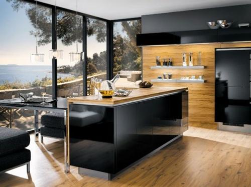 kücheninsel in hochglanz schwarz