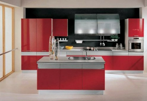K cheninsel zu hause 30 stilvolle einrichtungsideen f r for Red kitchen designs photo gallery
